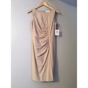 Tan pencil dress with flattering rouched waist